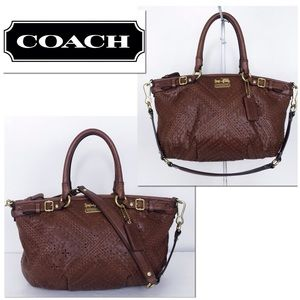 Coach Leather Sophia Madison Woven Satchel Bag